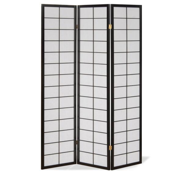 paravent japan traditional schwarz 3 teilig kaufen. Black Bedroom Furniture Sets. Home Design Ideas