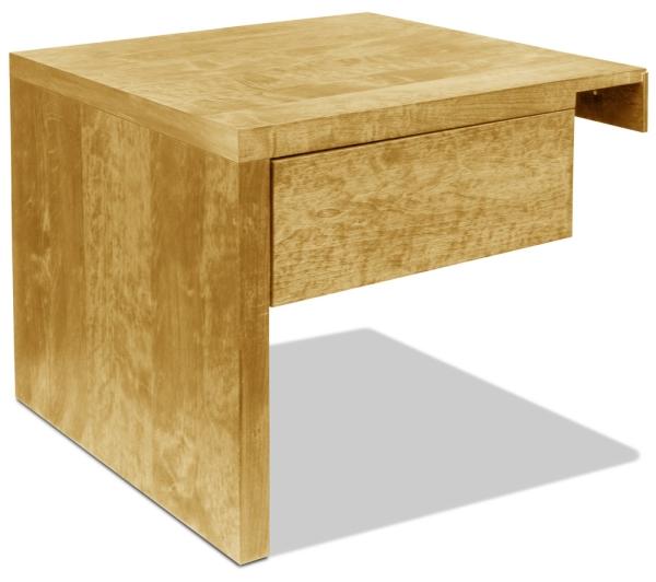 Nachttisch Basic Natur mit Schublade (Anstelltisch, Typ 2) H30 cm