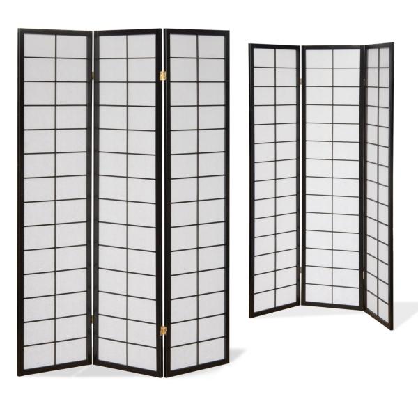 Paravent Japan Traditional Schwarz 3 teilig