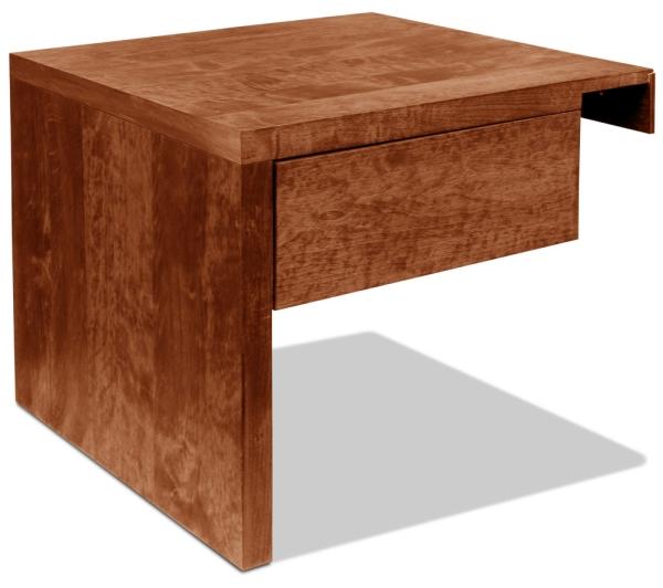Nachttisch Basic H35 cm Erle Kirsche dunkel mit Schublade (Anstelltisch, Typ 2)