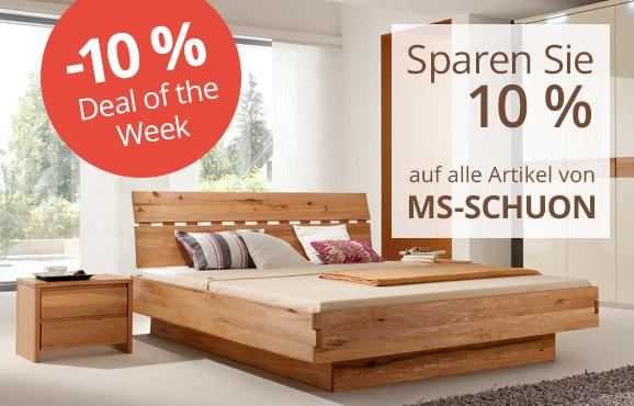 10 % Rabatt auf alle Betten und Schlafzimmermöbel von MS-Schuon